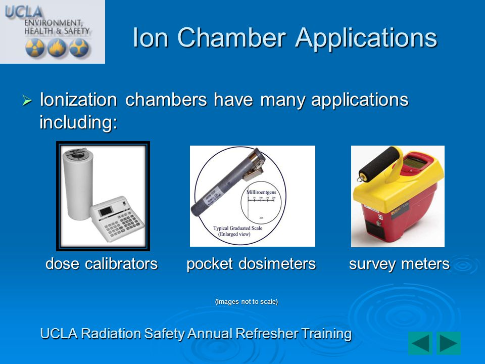 Ionization chambers have many applications including: Ionization chambers have many applications including: dose calibrators pocket dosimeters survey