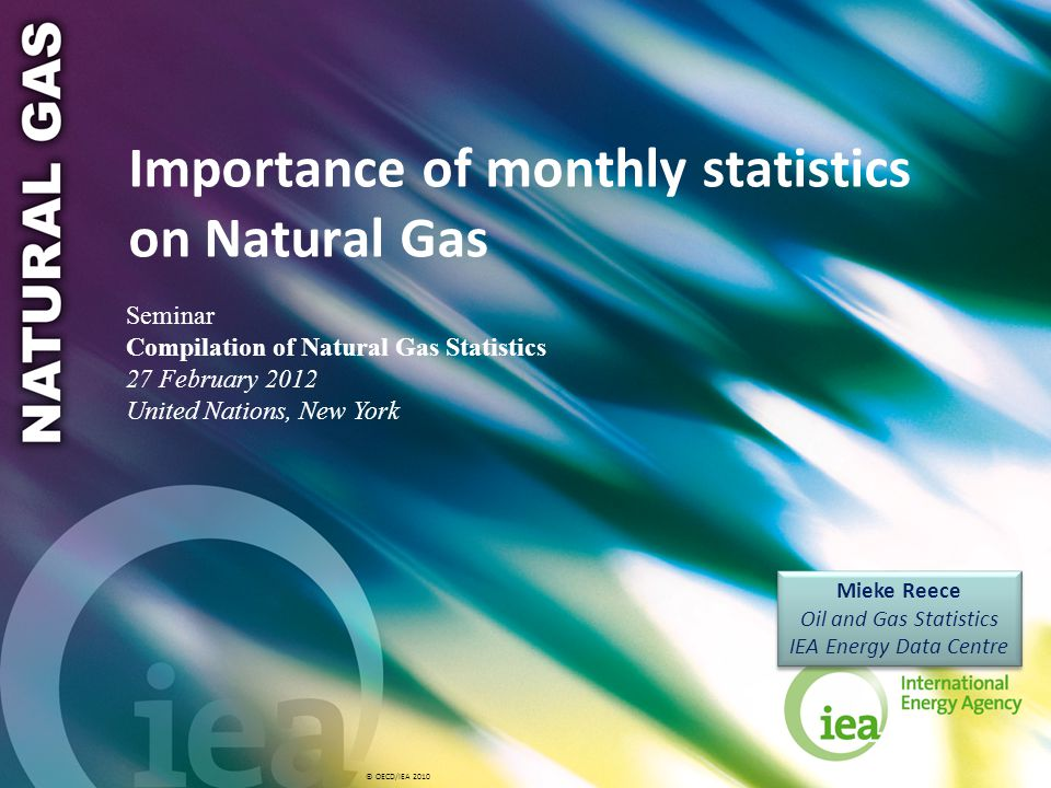 © OECD/IEA 2010 Importance of monthly statistics on Natural Gas Mieke Reece Oil and Gas Statistics IEA Energy Data Centre Mieke Reece Oil and Gas Stat