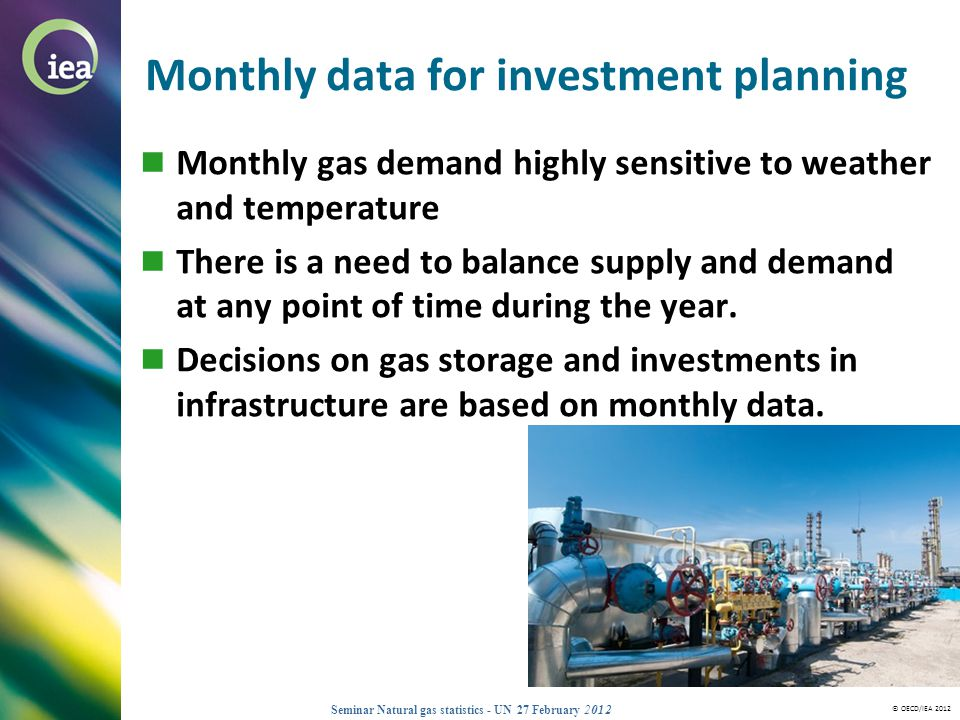 © OECD/IEA 2012 Seminar Natural gas statistics - UN 27 February 2012 Monthly data for investment planning Monthly gas demand highly sensitive to weath