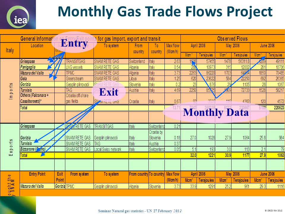 © OECD/IEA 2012 Seminar Natural gas statistics - UN 27 February 2012 Entry Exit Monthly Gas Trade Flows Project Monthly Data