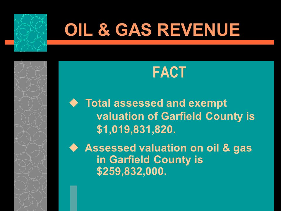OIL & GAS REVENUE FACT Total assessed and exempt valuation of Garfield County is $1,019,831,820. Assessed valuation on oil & gas in Garfield County is