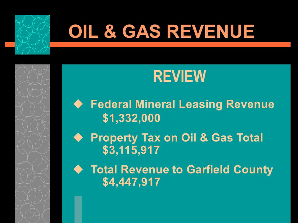 OIL & GAS REVENUE REVIEW Federal Mineral Leasing Revenue $1,332,000 Property Tax on Oil & Gas Total $3,115,917 Total Revenue to Garfield County $4,447
