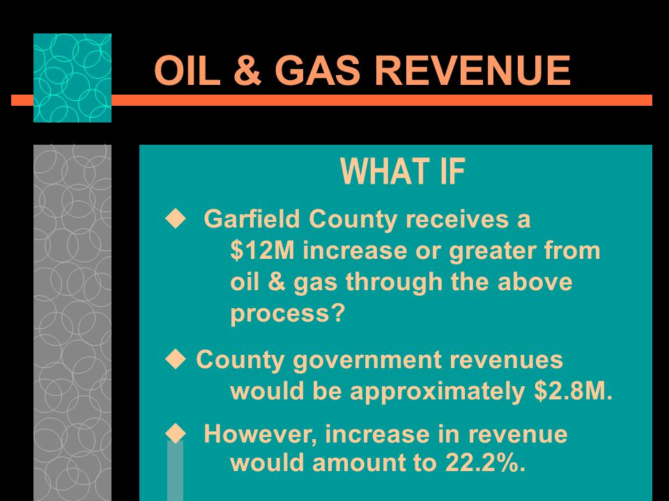OIL & GAS REVENUE WHAT IF Garfield County receives a $12M increase or greater from oil & gas through the above process.