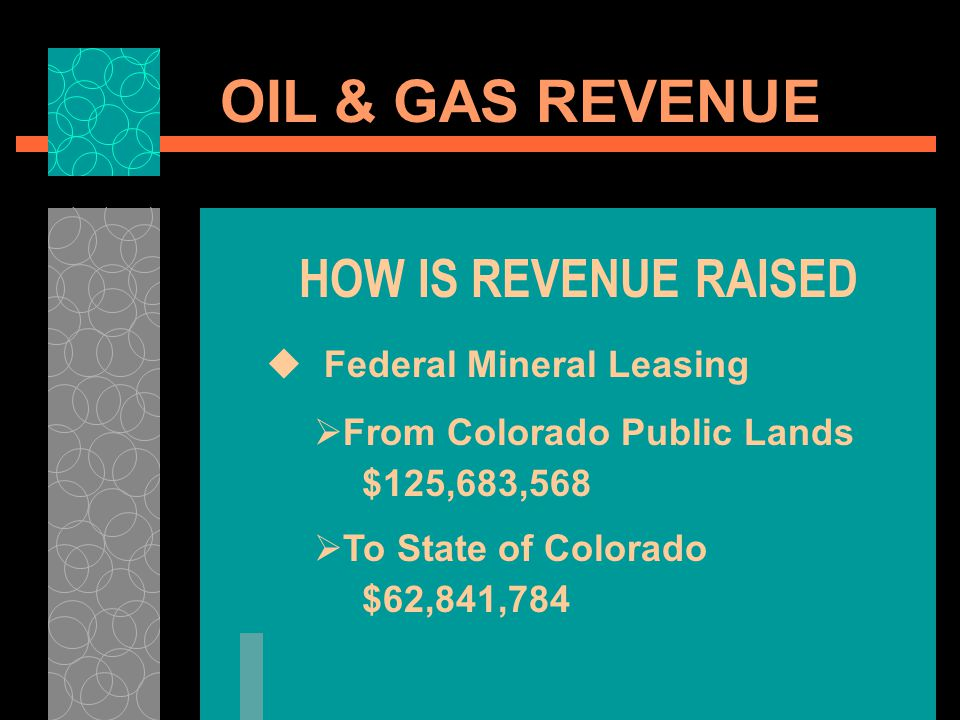 OIL & GAS REVENUE HOW IS REVENUE RAISED Federal Mineral Leasing From Colorado Public Lands $125,683,568 To State of Colorado $62,841,784