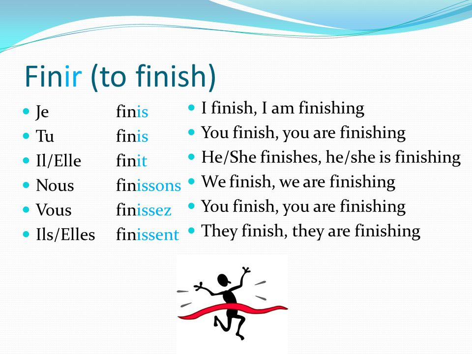 Finir (to finish) Je finis Tu finis Il/Ellefinit Nousfinissons Vousfinissez Ils/Ellesfinissent I finish, I am finishing You finish, you are finishing He/She finishes, he/she is finishing We finish, we are finishing You finish, you are finishing They finish, they are finishing