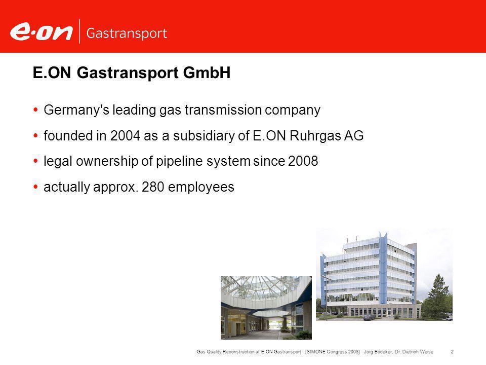 13Gas Quality Reconstruction at E.ON Gastransport [SIMONE Congress 2008] Jörg Bödeker, Dr.