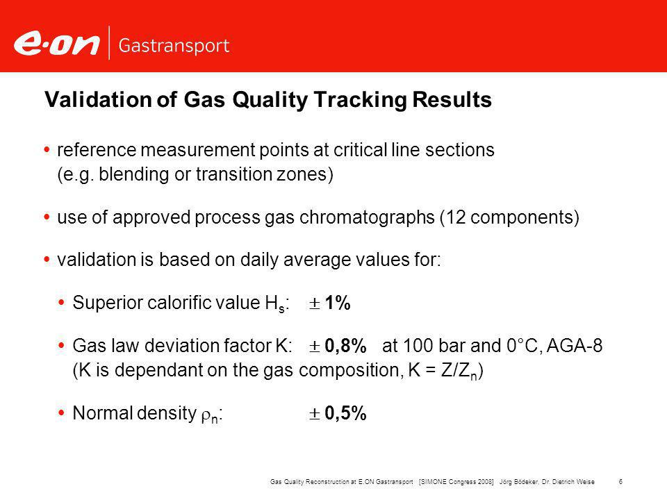 6Gas Quality Reconstruction at E.ON Gastransport [SIMONE Congress 2008] Jörg Bödeker, Dr.