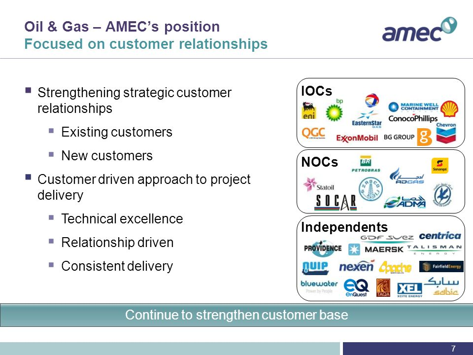 AMEC is a pioneer in the project management, engineering, construction, integration, hook-up and commissioning and asset support of large complex topsides, with a track record spanning over 30 years Shell: Shearwater (EPIC Alliance) INPEX: Ichthys Pre-FEED & FEED SEIC: Sakhalin II (FEED & DD) Saudi Aramco: Berri Gas Plant (EPC) Shell: Bonga (EPIC alliance) Appendix – North Sea Timeline: major greenfield projects BP: Clair Ridge Pre-FEED & FEED, DD Pioneer in engineering, PM and asset support of large, complex topsides 2012 GDF Suez: Cygnus Pre-FEED & FEED 2002 2008 2012 20012011 2002 1997 88
