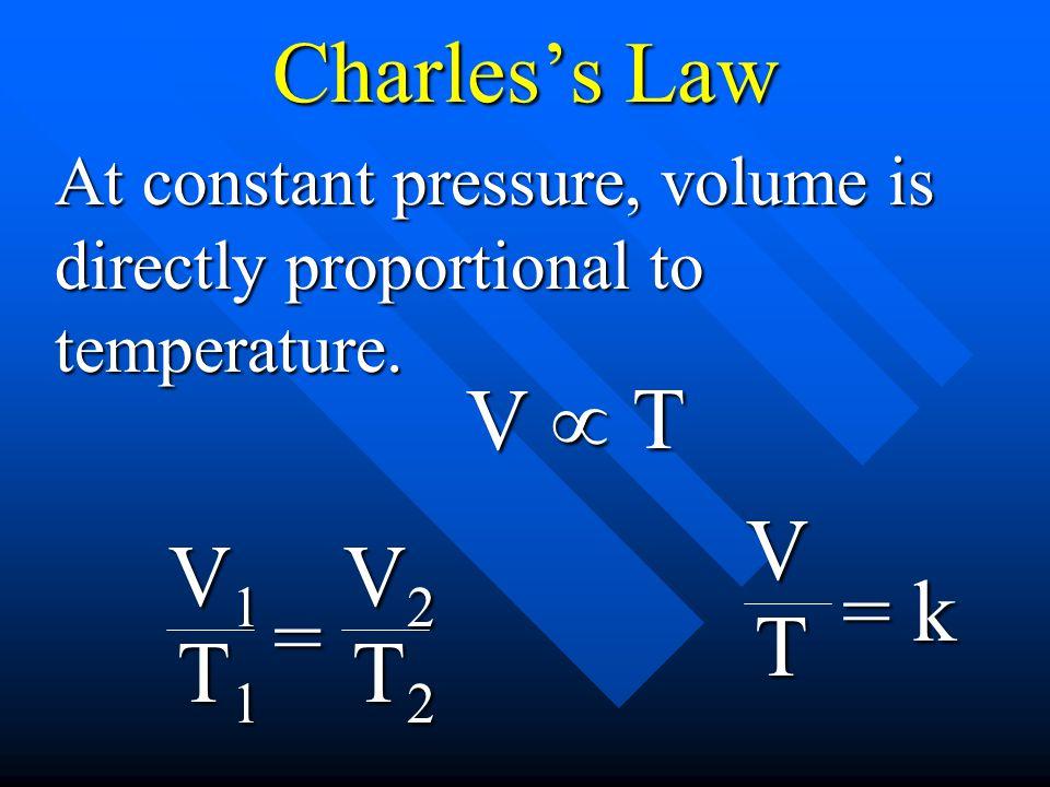 Charless Law At constant pressure, volume is directly proportional to temperature. VT VT = k V1V1V1V1 T1T1T1T1 = V2V2V2V2 T2T2T2T2