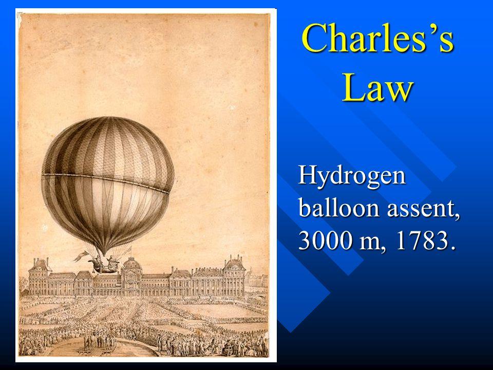 Charless Law Hydrogen balloon assent, 3000 m, 1783.
