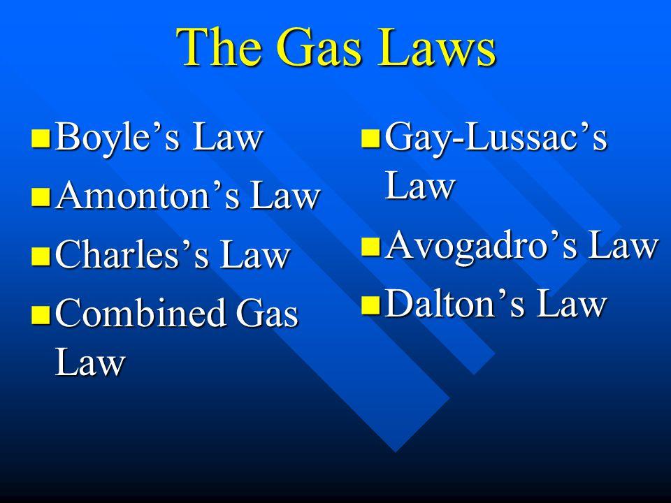Boyles Law Boyles Law Amontons Law Amontons Law Charless Law Charless Law Combined Gas Law Combined Gas Law Gay-Lussacs Law Avogadros Law Daltons Law