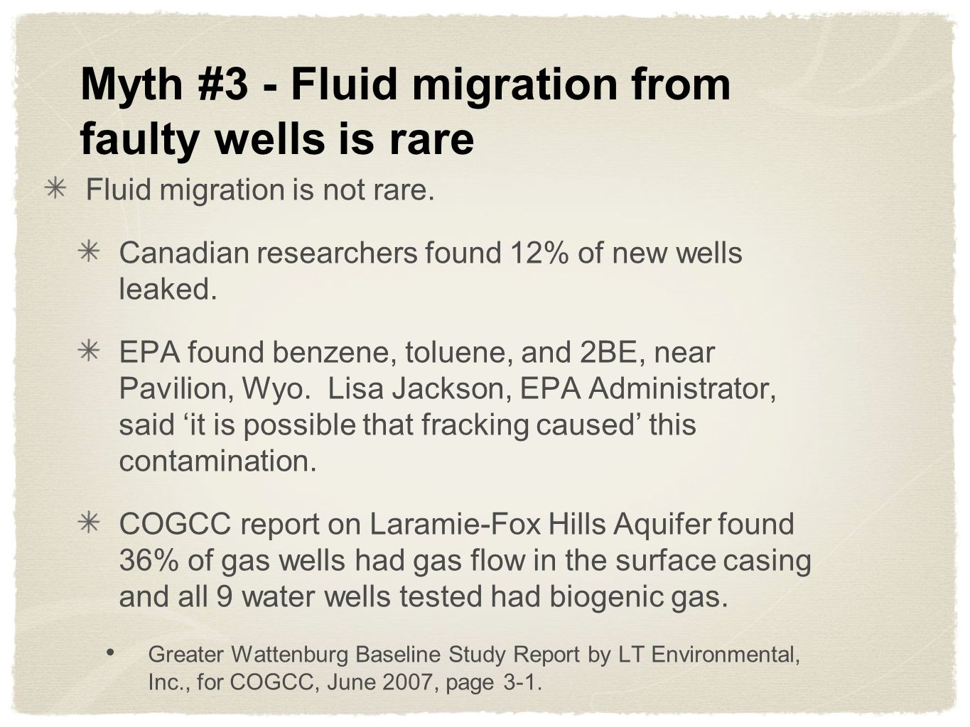 Myth #3 - Fluid migration from faulty wells is rare Fluid migration is not rare.