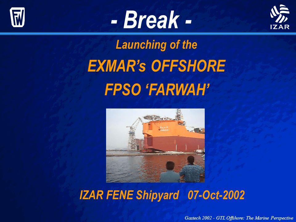 - Break - Launching of the EXMARs OFFSHORE FPSO FARWAH IZAR FENE Shipyard 07-Oct-2002