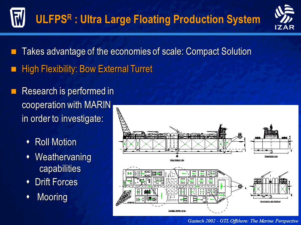 ULFPS R : Ultra Large Floating Production System Gastech 2002 - GTL Offshore: The Marine Perspective Takes advantage of the economies of scale: Compac