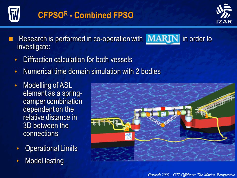 CFPSO R - Combined FPSO Gastech 2002 - GTL Offshore: The Marine Perspective Diffraction calculation for both vessels Diffraction calculation for both