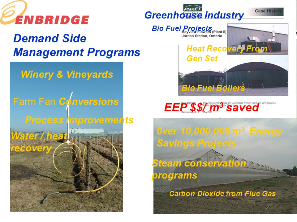 Demand Side Management Programs 0ver 10,000,000 m 3 Energy Savings Projects Greenhouse Industry Steam conservation programs Winery & Vineyards Farm Fan Conversions Process improvements Water / heat recovery Bio Fuel Projects Heat Recovery From Gen Set Bio Fuel Boilers Carbon Dioxide from Flue Gas EEP $$/ m 3 saved
