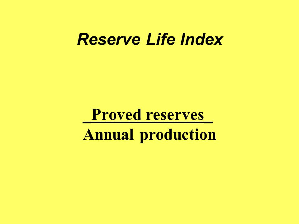 Reserve Life Index _Proved reserves_ Annual production