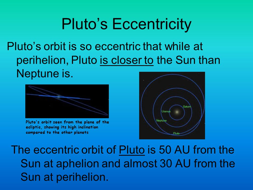 Plutos Eccentricity Plutos orbit is so eccentric that while at perihelion, Pluto is closer to the Sun than Neptune is. The eccentric orbit of Pluto is