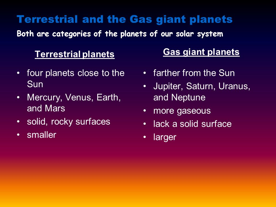 Terrestrial and the Gas giant planets Terrestrial planets four planets close to the Sun Mercury, Venus, Earth, and Mars solid, rocky surfaces smaller