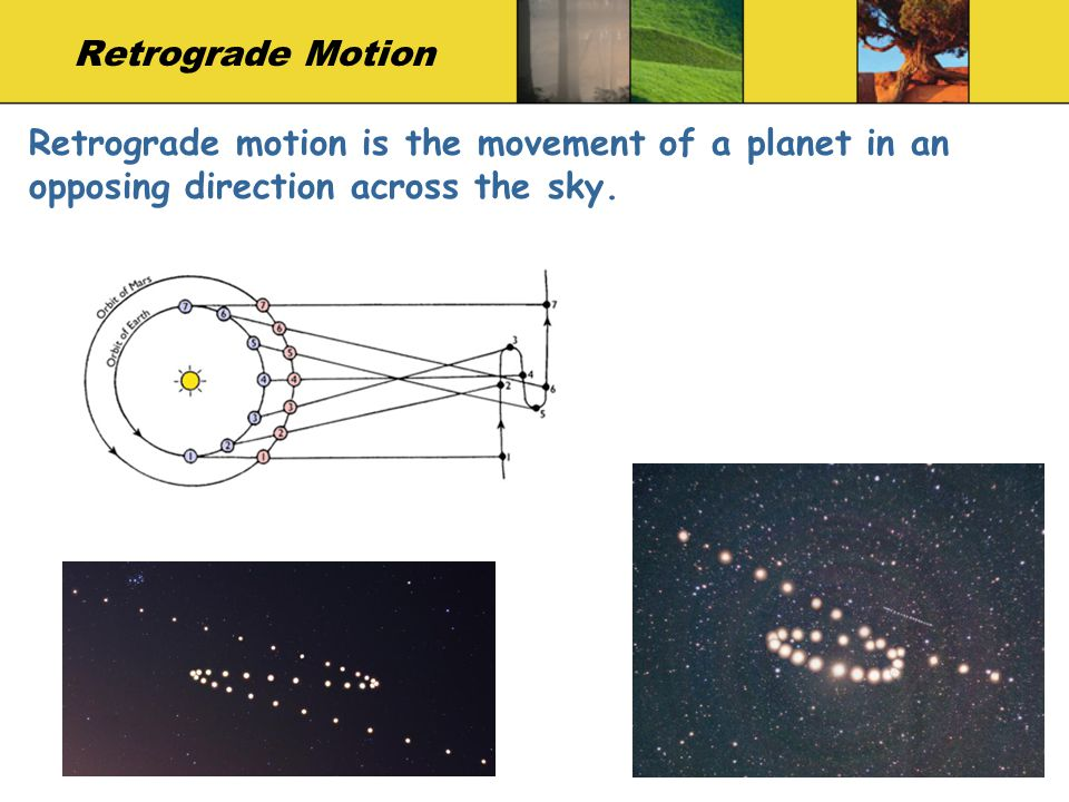Retrograde Motion Retrograde motion is the movement of a planet in an opposing direction across the sky.