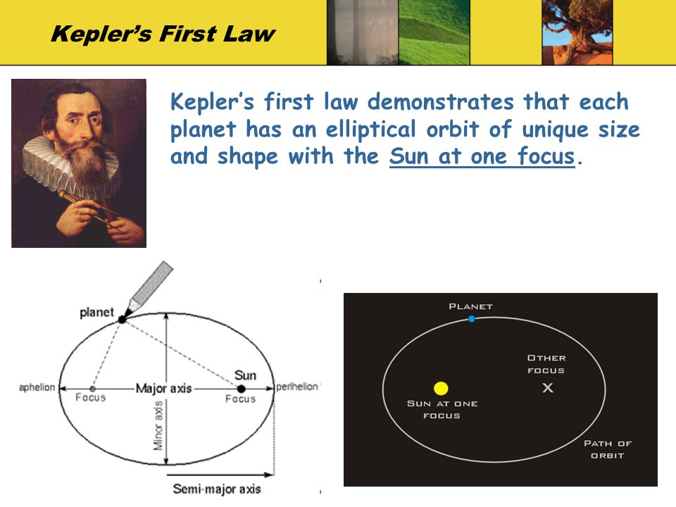 Keplers First Law Keplers first law demonstrates that each planet has an elliptical orbit of unique size and shape with the Sun at one focus.