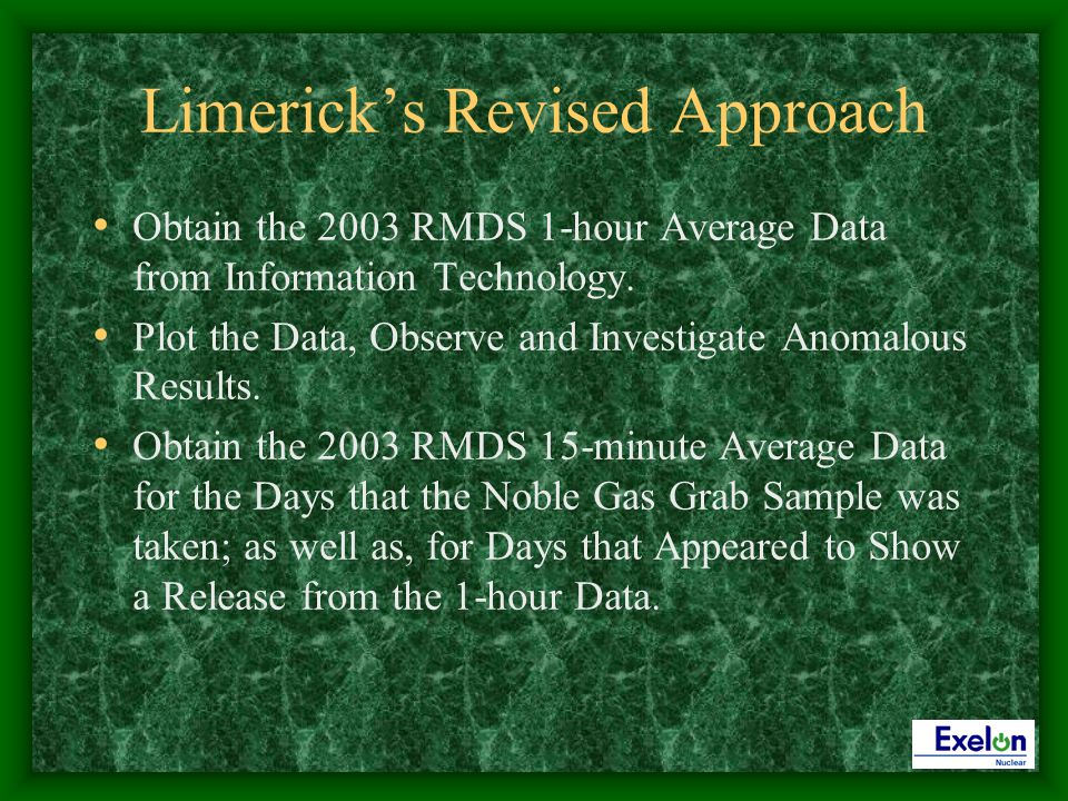 Limericks Revised Approach Obtain the 2003 RMDS 1-hour Average Data from Information Technology.