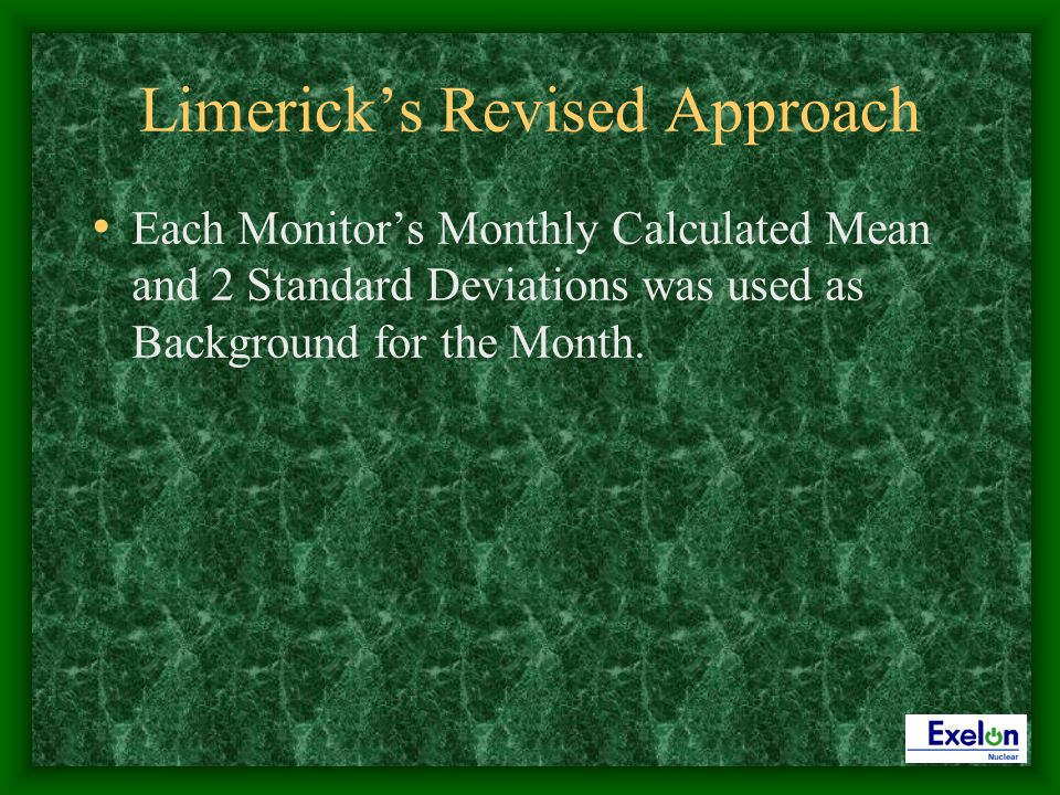 Limericks Revised Approach Each Monitors Monthly Calculated Mean and 2 Standard Deviations was used as Background for the Month.