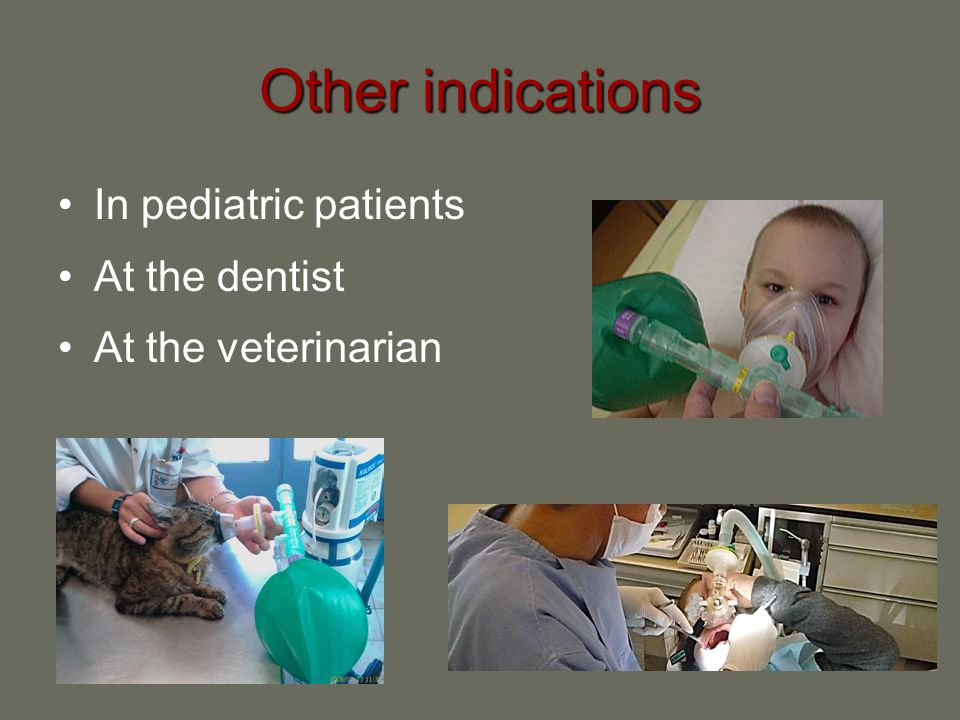 Contra-indications Nitrous oxide should not be used with any condition where gas is entrapped within the body and where its expansion might be dangerous, such as : Head injuries with impairment of consciousness Traumatic or spontaneous pneumothoraxTraumatic or spontaneous pneumothorax Decompression sickness Following a recent underwater dive Severe bullous lung emphysema Gross abdominal distension Intoxication Maxillofacial injuriesMaxillofacial injuries Recent intraocular injection of gas (such as SF6).