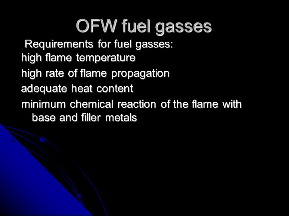 A jet of pure oxygen reacts with iron, that has been preheated to its ignition point, to produce the oxide Fe 3 O 4 by exothermic reaction.This oxide is then blown through the material by the velocity of the oxygen stream Different types of fuel gases may be used for the pre-heating flame in oxy fuel gas cutting: i.e.