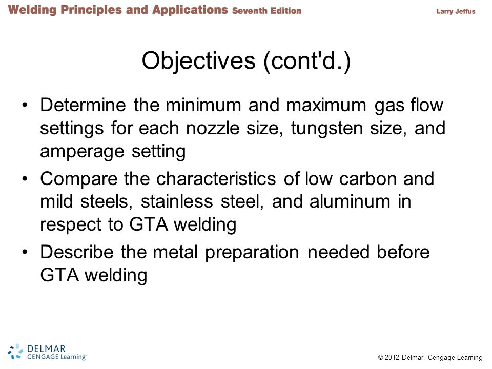 © 2012 Delmar, Cengage Learning Objectives (cont'd.) Determine the minimum and maximum gas flow settings for each nozzle size, tungsten size, and ampe