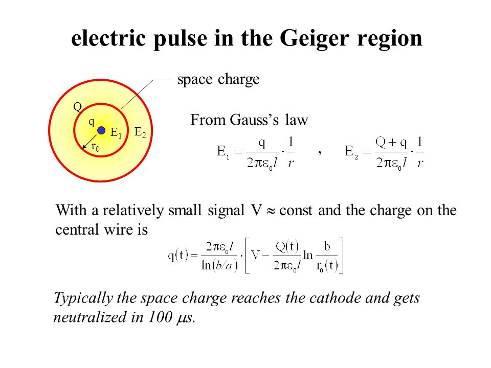 electric pulse in the Geiger region q Q space charge r0r0 E1E1 E2E2 From Gausss law, With a relatively small signal V const and the charge on the cent