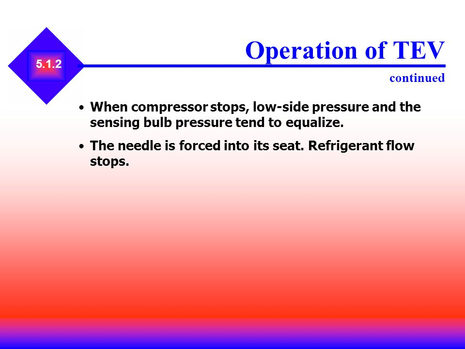 5.1.2 Operation of TEV continued When compressor stops, low-side pressure and the sensing bulb pressure tend to equalize. The needle is forced into it