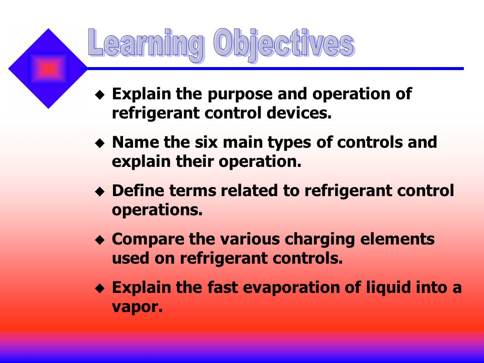Explain the purpose and operation of refrigerant control devices. Name the six main types of controls and explain their operation. Define terms relate