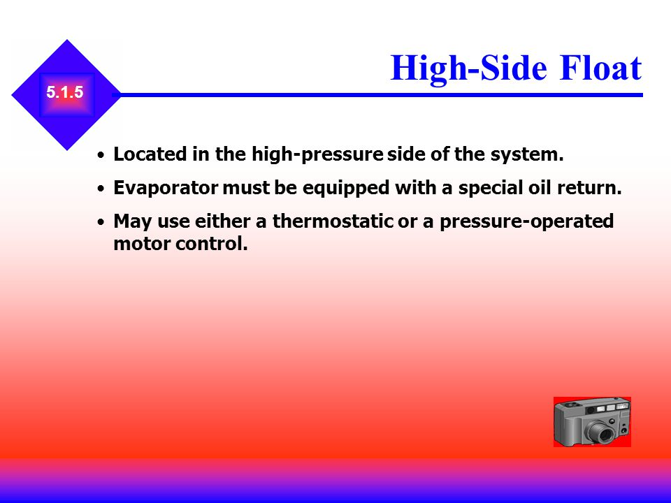 5.1.5 High-Side Float Located in the high-pressure side of the system. Evaporator must be equipped with a special oil return. May use either a thermos