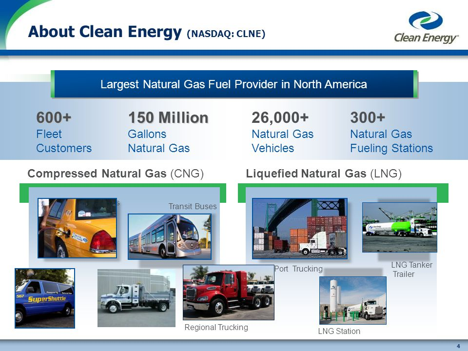 4 Compressed Natural Gas (CNG) Taxis Airport Vehicles Transit Buses Leading Provider of Natural Gas As a Transportation Fuel About Clean Energy (NASDAQ: CLNE) Liquefied Natural Gas (LNG) Port Trucking LNG Station LNG Tanker Trailer Largest Natural Gas Fuel Provider in North America600+ Fleet Customers 26,000+ Natural Gas Vehicles 300+ Natural Gas Fueling Stations 150 Million Gallons Natural Gas Regional Trucking