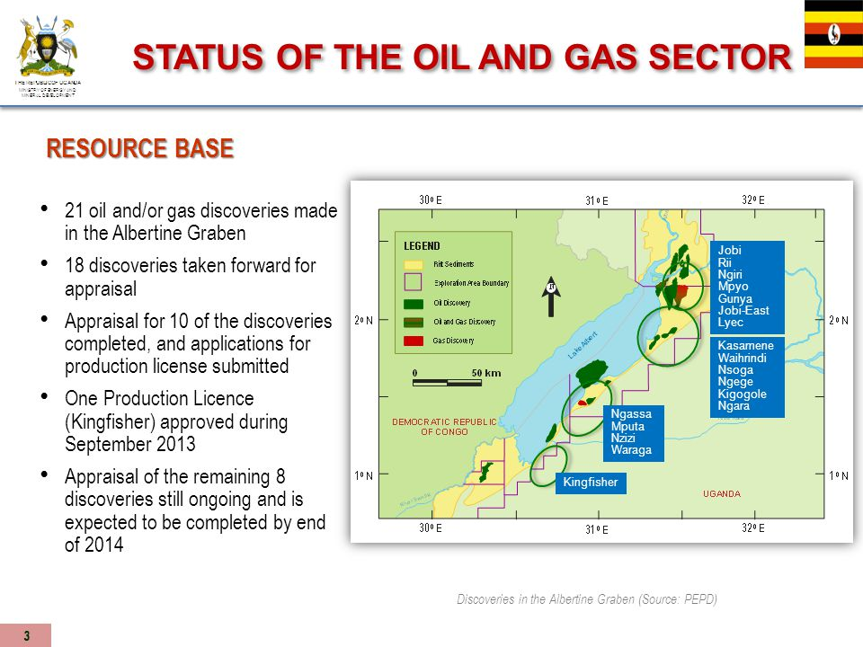 Ministry of Energy and Mineral Development, Petroleum Exploration and Production Department Development of regulations to support the new upstream and midstream Acts; to be in place during 2014.