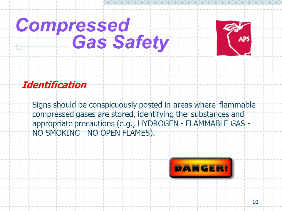 10 Compressed Gas Safety Identification Signs should be conspicuously posted in areas where flammable compressed gases are stored, identifying the sub