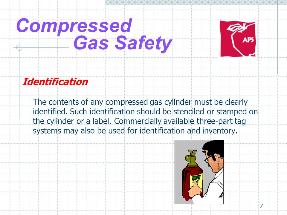 8 Compressed Gas Safety Identification No compressed gas cylinder should be accepted for use that does not legibly identify its contents by name If the labeling on a cylinder becomes unclear or a tag is defaced to the point the contents cannot be identified, the cylinder should be marked contents unknown and returned to the supplier