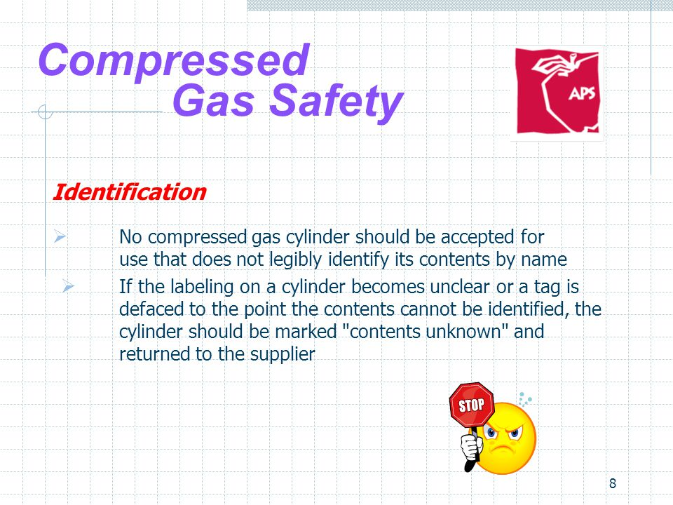 9 Compressed Gas Safety Identification Never rely on the color of the cylinder for identification.