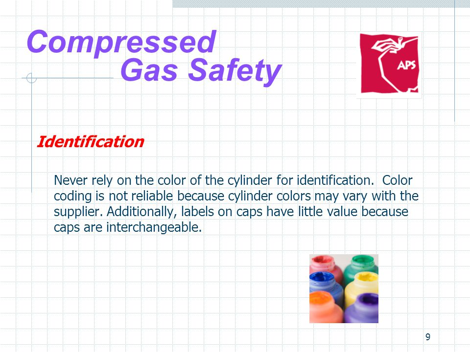 20 Compressed Gas Safety Handling & Use Oxygen cylinders, full or empty, shall not be stored in the same vicinity as flammable gases.