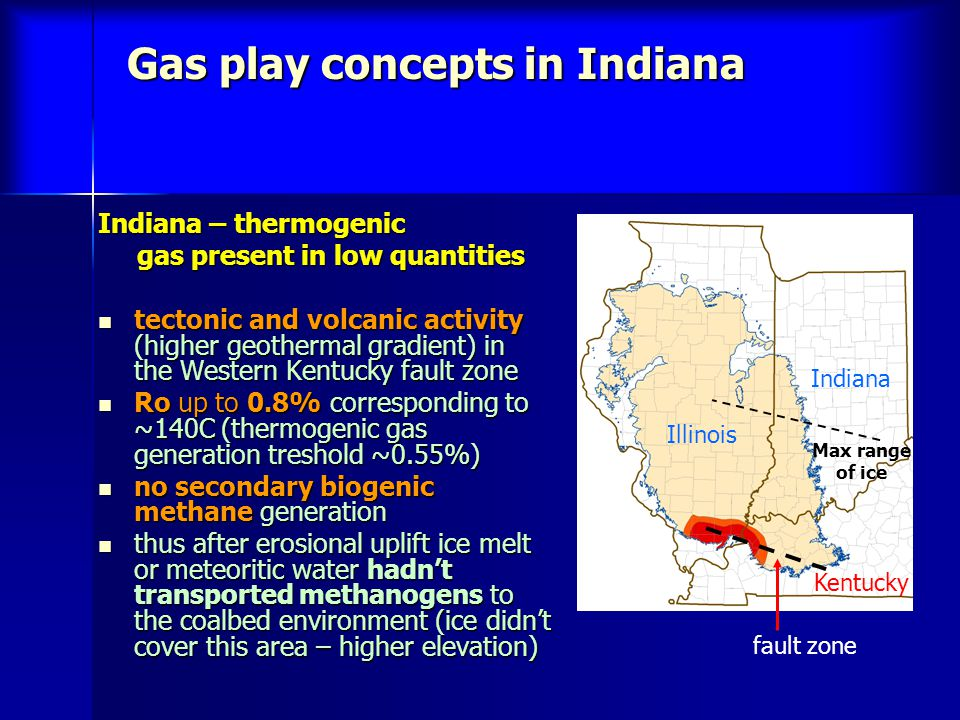 Gas play concepts in Indiana Indiana – thermogenic gas present in low quantities gas present in low quantities tectonic and volcanic activity (higher geothermal gradient) in the Western Kentucky fault zone tectonic and volcanic activity (higher geothermal gradient) in the Western Kentucky fault zone Ro up to 0.8% corresponding to ~140C (thermogenic gas generation treshold ~0.55%) Ro up to 0.8% corresponding to ~140C (thermogenic gas generation treshold ~0.55%) no secondary biogenic methane generation no secondary biogenic methane generation thus after erosional uplift ice melt or meteoritic water hadnt transported methanogens to the coalbed environment (ice didnt cover this area – higher elevation) thus after erosional uplift ice melt or meteoritic water hadnt transported methanogens to the coalbed environment (ice didnt cover this area – higher elevation) fault zone Illinois Indiana Kentucky Max range of ice