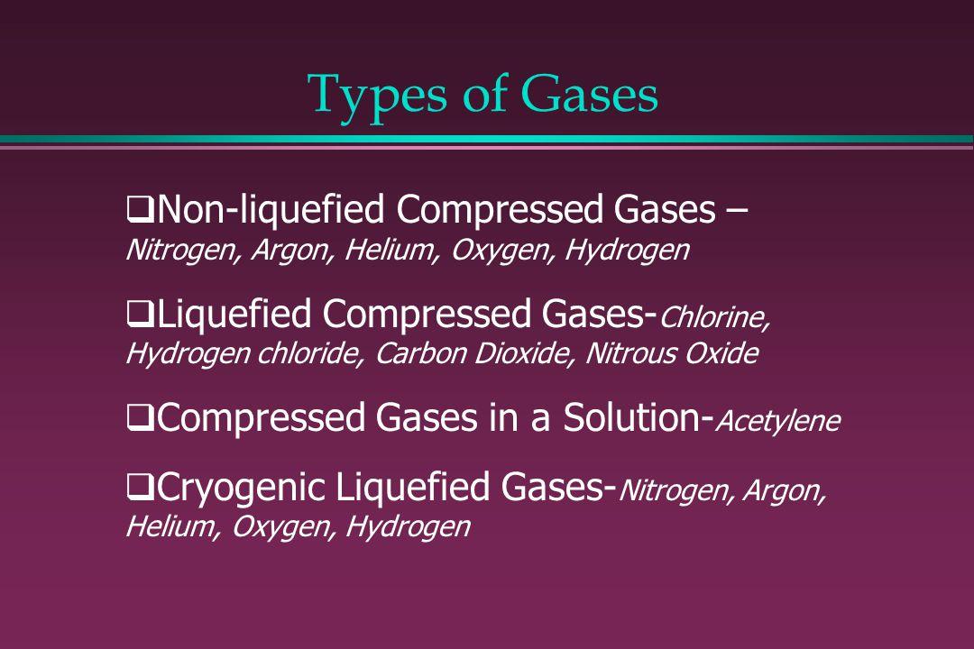 Non-liquefied Compressed Gases – Nitrogen, Argon, Helium, Oxygen, Hydrogen Liquefied Compressed Gases- Chlorine, Hydrogen chloride, Carbon Dioxide, Ni