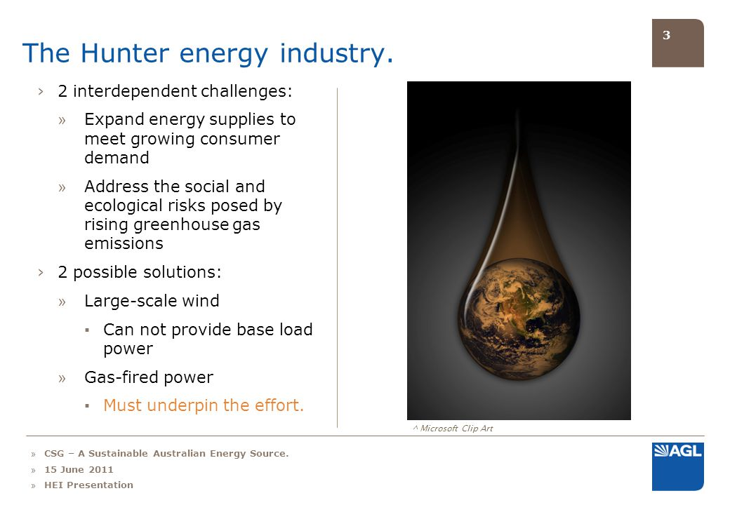 3 The Hunter energy industry. ^ Microsoft Clip Art 2 interdependent challenges: » Expand energy supplies to meet growing consumer demand » Address the