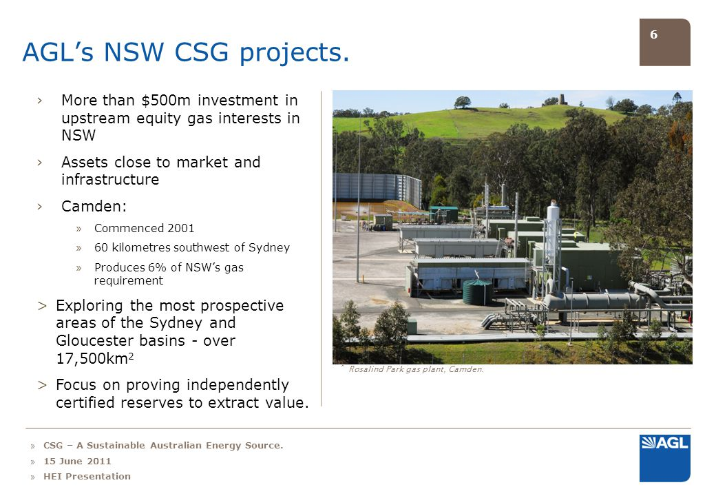 6 AGLs NSW CSG projects.