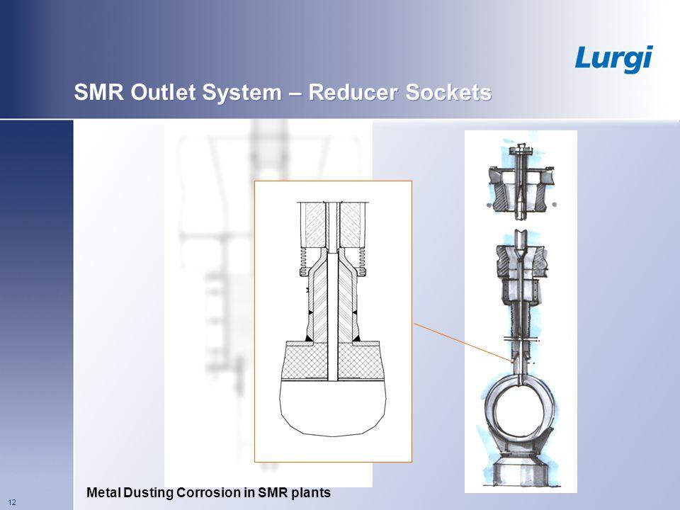 Metal Dusting Corrosion in SMR plants 12 SMR Outlet System – Reducer Sockets