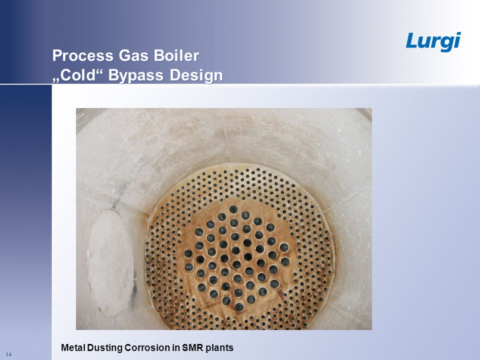 Metal Dusting Corrosion in SMR plants 14 Process Gas Boiler Cold Bypass Design