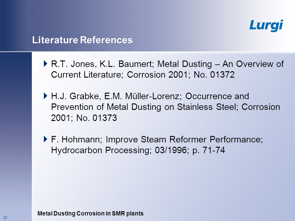 Metal Dusting Corrosion in SMR plants 20 Literature References R.T.
