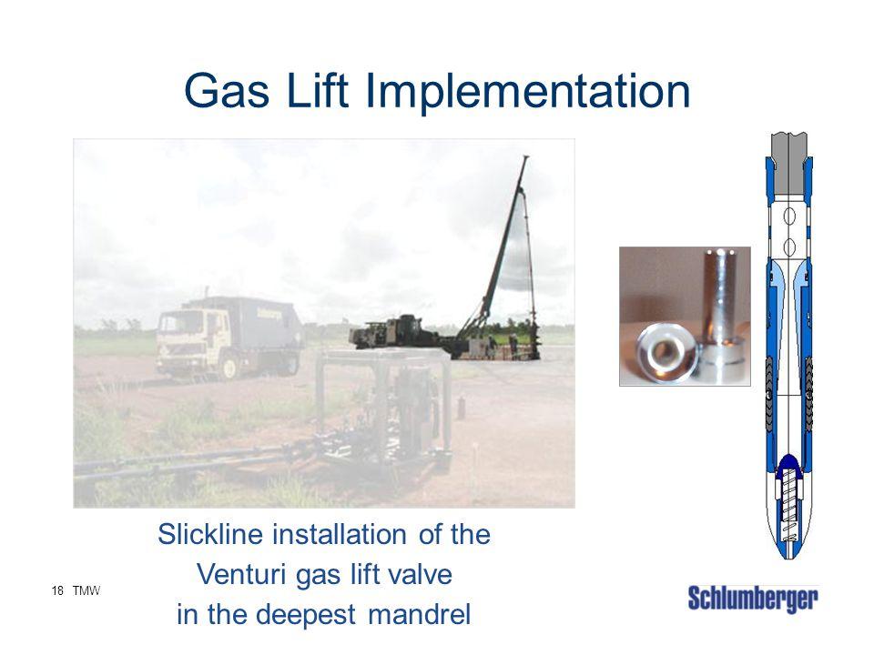 18TMW Gas Lift Implementation Slickline installation of the Venturi gas lift valve in the deepest mandrel