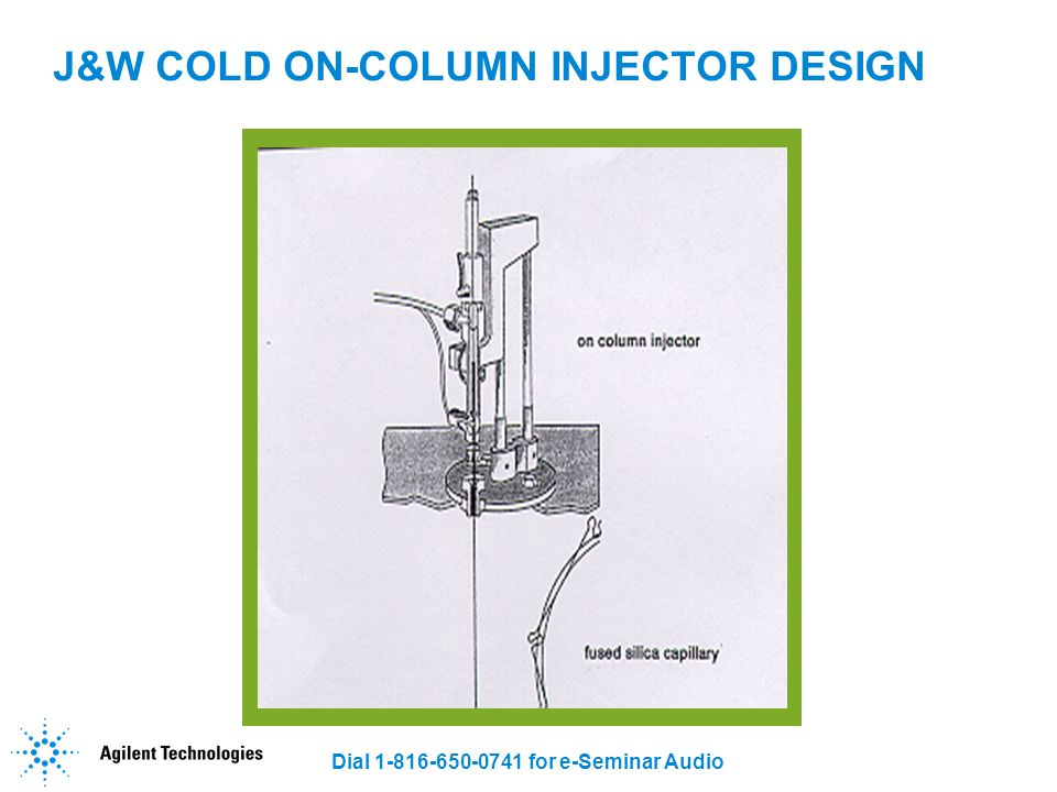 Dial 1-816-650-0741 for e-Seminar Audio J&W COLD ON-COLUMN INJECTOR DESIGN