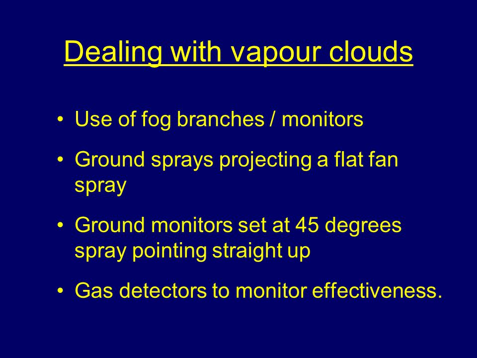 Leakage of LPG without ignition Shut off leak at source Prevent ignition Safe dispersal of gas/vapour cloud.